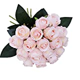 JAROWN 18 Heads Artificial Silk Flowers Bouquet Real-like Roses for Wedding Bouquet Bridal Lace Decoration (Pink)