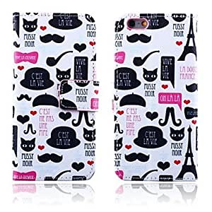 LZX Cat and Beard Pattern PU Leather Full Body Cover with Card Slot for iPhone 6 Plus