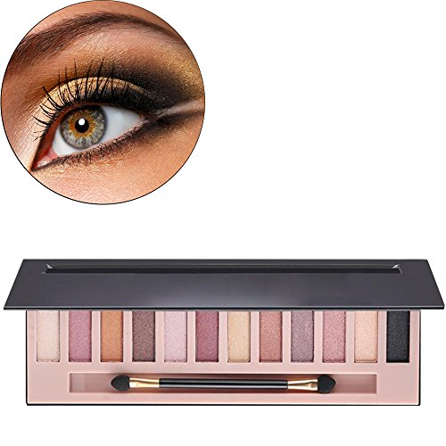 Hisight Beauty Brick Eyeshadow, 12 Color Palette set the color of nude make-up (12 Color)