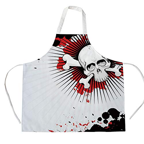 Halloween 3D Printed Cotton Linen Apron,Skull with Crossed