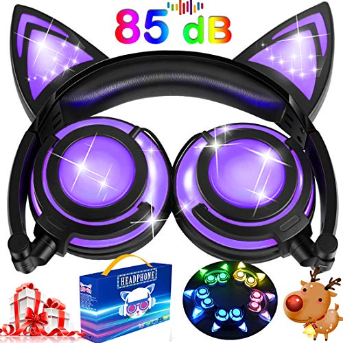 (Kids Cat Ear Headphones for Girls Boys Toddlers with Microphone LED Light 85dB Volume Limit USB Rechargeable Wired Foldable Over/On Earphones Game Headsets for Phone Tablets PC Travel Birthday Gifts)