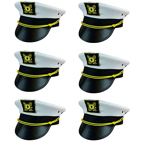 Captain Hat Yacht Boat Sailing Fishing Captains Cap (6 Pack) By Funny Party Hats