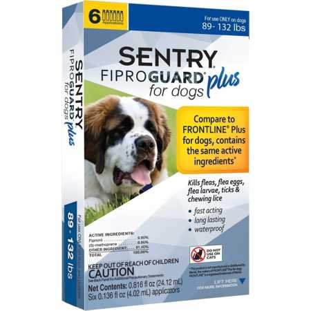 SENTRY Fiproguard Plus for Dogs, Flea and Tick Prevention for Dogs (89-132 Pounds), Includes 6 Month Supply of Topical Flea Treatments (Frontline Plus For Small Dogs Best Price)