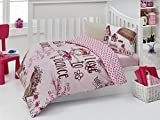LaModaHome 5 Pieces Baby Toddler Ranforce Dance Bedding Set with SILICONE COMFORTER, Pink Fuchsia Beige Brown Turkey 100% Cotton (Quilt & Duvet Cover & Flat Sheet & 2 Pillowcases)