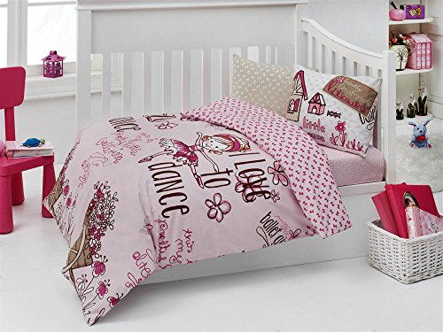 LaModaHome 5 Pieces Baby Toddler Ranforce Dance Bedding Set with SILICONE COMFORTER, Pink Fuchsia Beige Brown Turkey 100% Cotton (Quilt & Duvet Cover & Flat Sheet & 2 Pillowcases) by LaModaHome