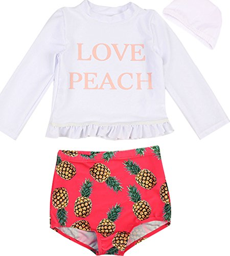545c1c8c1d Baby Kids Girls 3pcs Long Sleeve Sun Protection Umbrella Print Rash Guard  Beach Swimwear Swimsuit UPF