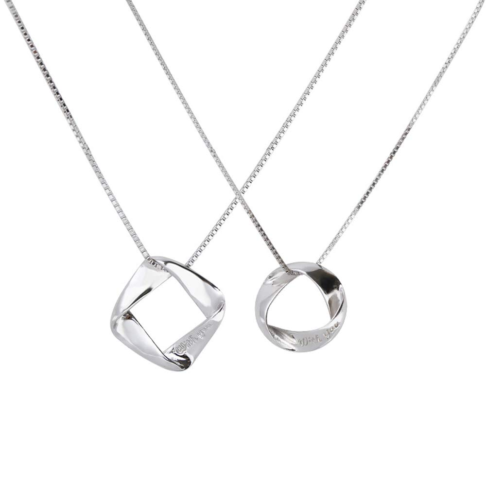 Furious Jewelry 925 Sterling Silver Irregular Shape Couple Pendant Necklace