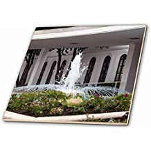 3dRose Jos Fauxtographee- LDS Temple Fountain - An LDS Temple and a beautiful fountain out front in a garden - 6 Inch Glass Tile (ct_263285_6)