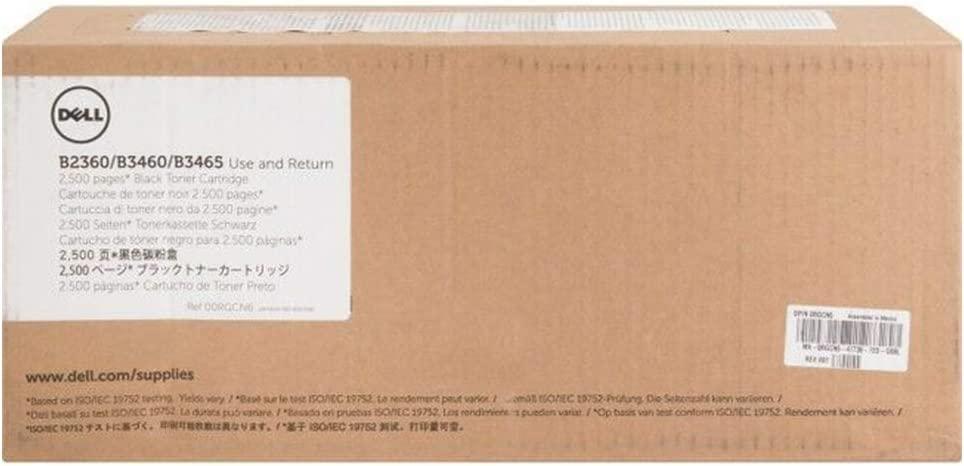 Dell RGCN6 Toner Cartridge for B2360D/B2360DN/B3460DN/B3465DN/B3465DNF, Black by Dell