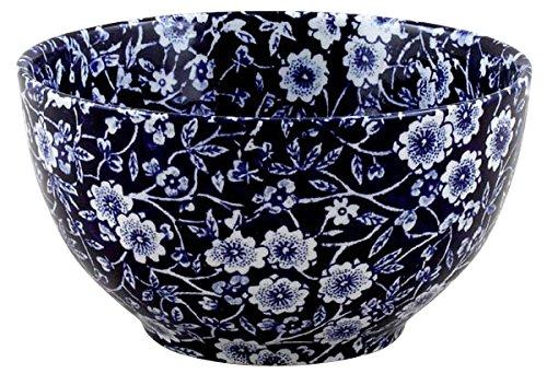 Burleigh Dark Blue Calico Sugar Bowl Large 12 cm Burgess & Leigh