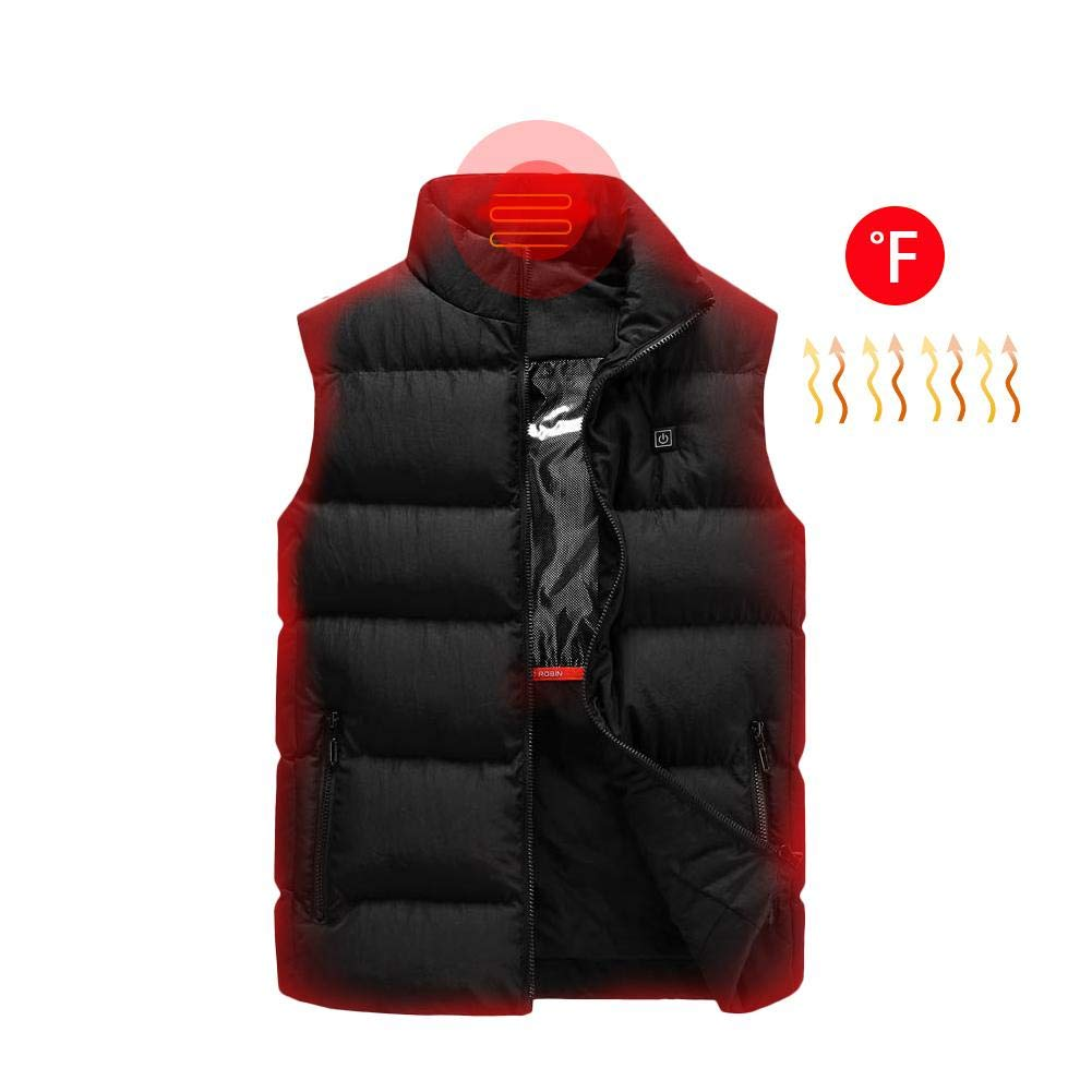 PROKTH Electric Heated Vest Adjustable USB Charging Heated Warm Waistcoat Men Rechargeable Gilet for Outdoor Riding Skiing