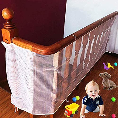 Baby Safety Net Stair Railing, 10ft L x 2.5ft H Indoor Balcony and Stairway Safety Net, Banister Stair Net Protector, Child Safety Rail Net, Pet Safety, Toy Safety, Stairs Protector Guarding Mesh Net