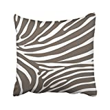Decorative Brown and White Zebra Print Stripes Animal Print Throw Pillow Case Decor Cushion Cover Size 20x20 inches 50x50cm One Sided