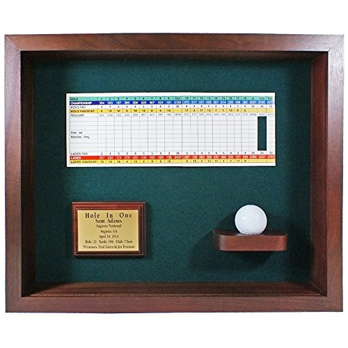 - Eureka Golf Products Hole In One Ball & Scorecard or Photo Shadowbox Display-Free Engraved Plate (Cherry)