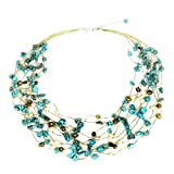 NOVICA Cultured Freshwater Pearl and Magnesite Multi-strand Necklace 'Cool Shower', 20.5''
