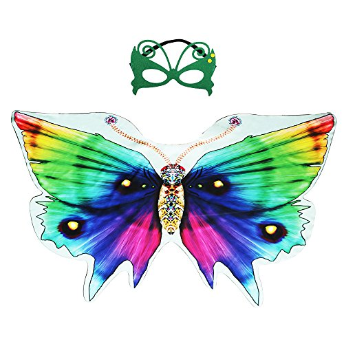 Kids Dreamy Butterfly Wings Costume for Girls Fancy Dress Up Pretend Play Party Favor (#05 Rainbow Butterfly Wing & Mask)