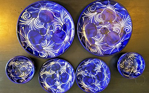 Mexican Blue Hand Painted Talavera 4 Plates 2 Bowls Dinner Plate Set