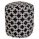 Majestic Home Goods Black Links Indoor/Outdoor Bean Bag Ottoman Pouf 16'' L x 16'' W x 17'' H