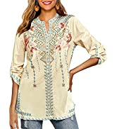 Higustar Long Sleeve Casual Button-Down Shirt Women Flowers Embroidered Mexican Bohemian Loose Mi...