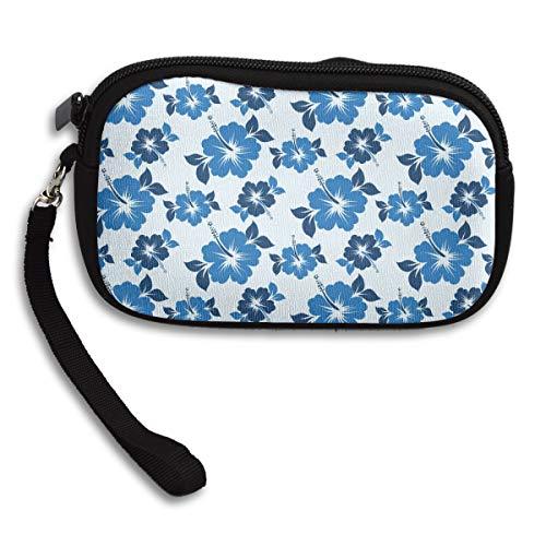 ORASYA 100% Polyester Smart Phone Wristlets Cash Coin Hawaiian Blue Flowers Pattern Purses Make Up Bag Cellphone Clutch Purse with Wrist Strap