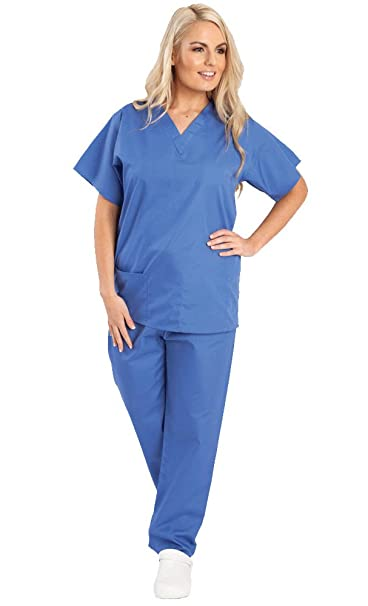 Camisa+pantalon uniforme medico Unisex Azul Cielo XXXL