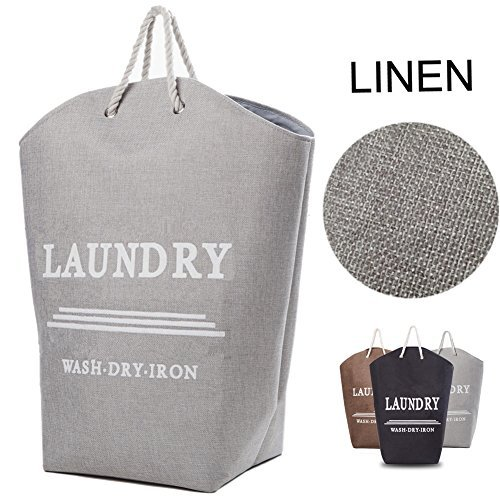 Laundry Hamper Basket with Handle Easily Transport Linen Clothes Storage Ideal for Apartments, Travel, Dorm Rooms or Vacations,Gray