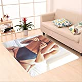 Sophiehome skid Slip rubber back antibacterial  Area Rug cropped image of beautiful passionate couple having sex on bed man is unfastening bra 499266709 Home Decorative
