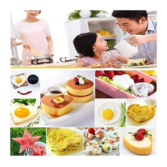 Fried Egg Mold Ring Set of 10 - CHANMOL Stainless Steel Non-Stick Egg Shaper Ring with Silicone Pastry Brush and Egg Separator, Kitchen Cooking Tools for Kids and Lovers 7 BRILLIANT DESIGN -- Star/Heart/Sun/Plum Flower/Mouse/Horse/Elephant/Bear 8 different lovely molds making pancake or egg with funny shapes easily. You can use them to make any delicious food you can think about, such as dessert, pastry, chapatty, jelly. Just have them and get your imagination started! PREMIUM QUALITY-- Our egg molds are made of stainless steel 18/8 with passed FDA certification ,and fully surgical-graded stainless-steel interior and outside , which gives it a brilliant, durable, rust-resistant finish that is easy to maintain, and will last a lifetime. CONVENIENCE-- Single weight about 32g, compact, durable & easy to use. Foldable handles with heat resistance silicone prevents burns to the hands, convenient to move and store. One silicone pastry brush and one egg yolk white separator are also included as bonus for you.
