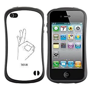 "Hypernova Slim Fit Dual Barniz Protector Caso Case Funda Para Apple iPhone 4 / iPhone 4S [Ok Mano Señal Firmar Blanco Negro minimalista""]"