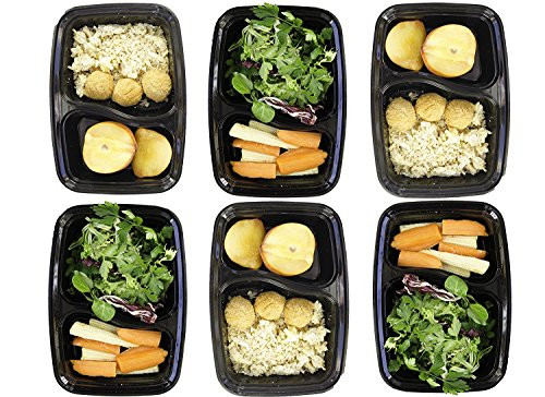 Mercimall 20Pack 35oz Meal Prep Containers 2 Compartment Lunch Boxes Leak Resistant Food Storage Microwave & Dishwasher & Freezer Safe Bento Box by mercimall (Image #6)
