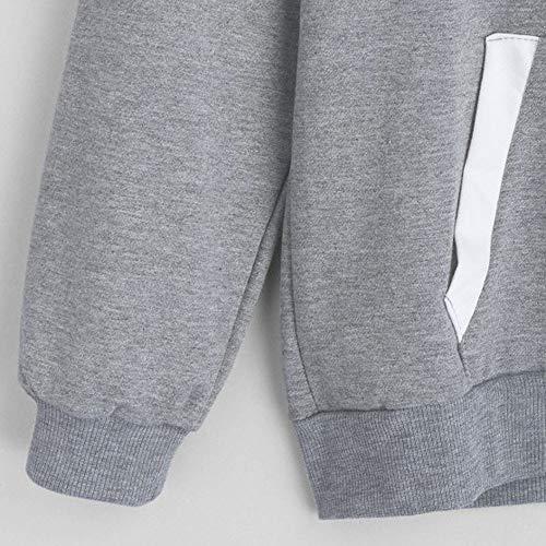 Vendita Pullover Solide Donne con con Blusa Casual Grigio di Tops Maniche Tasche T Camicette Cappuccio Elegante Camicie Donne Shirt Cappuccio con Lunghe Liquidazione rXwzrqtSvn