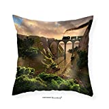 VROSELV Custom Cotton Linen Pillowcase Old Steam Train Crossing a Bridge over Sunset Background (3d) - Fabric Home Decor 22''x22''