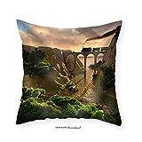 VROSELV Custom Cotton Linen Pillowcase Old Steam Train Crossing a Bridge over Sunset Background (3d) - Fabric Home Decor 22''x22''