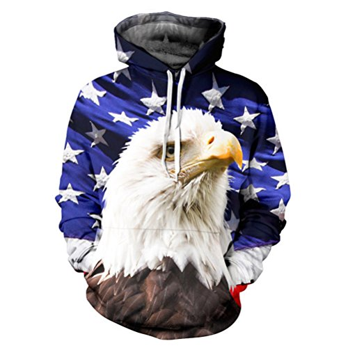 [Timeiya Men's Cotton Blend Hooded Sweatshirt Pullover Eagle Pattern] (Male Figure Skater Costume)
