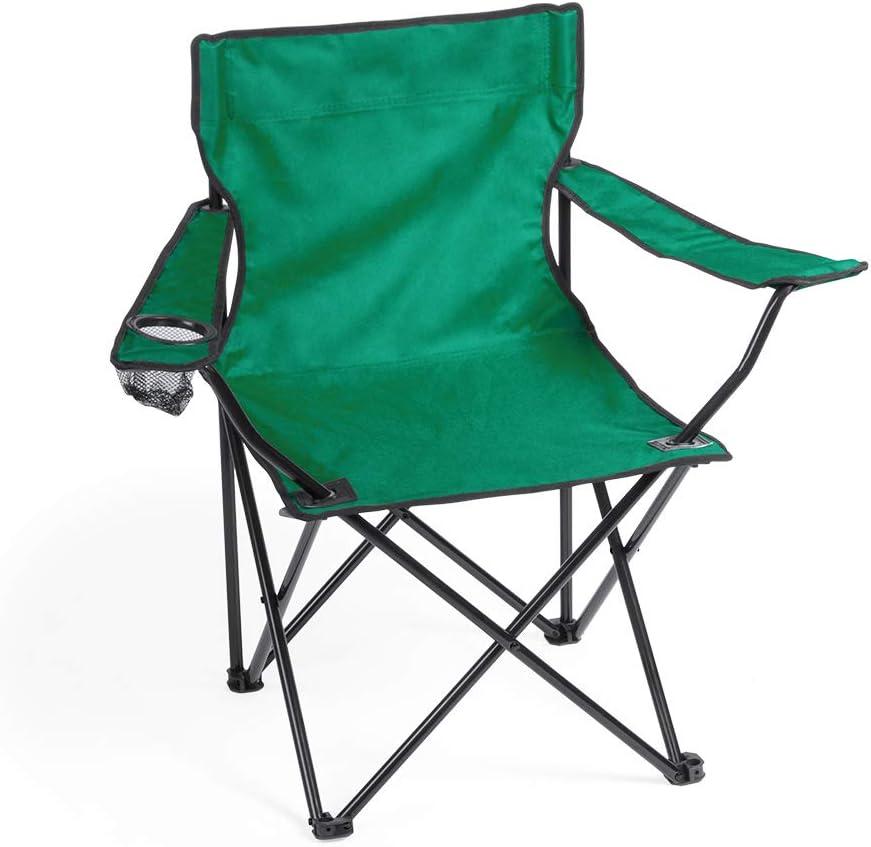 Silla Verde Camping Plegable con apoyabrazos y Bolsillo de ...