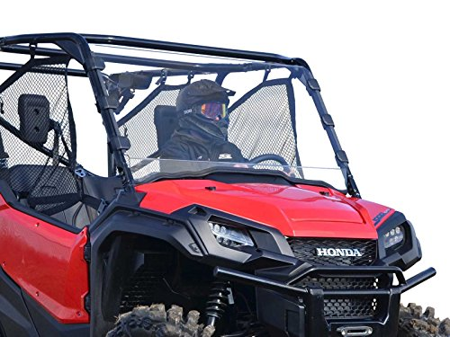 SuperATV Heavy Duty Full Windshield for Honda Pioneer 1000/1000-5 (2016+) - Clear - Installs In 5 Minutes! -  SuperATV.com, WS-H-PIO1K-75