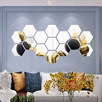 16X 3D Mirror Tiles Mosaic Wall Stickers Self Adhesive Bedroom Art Decal Home