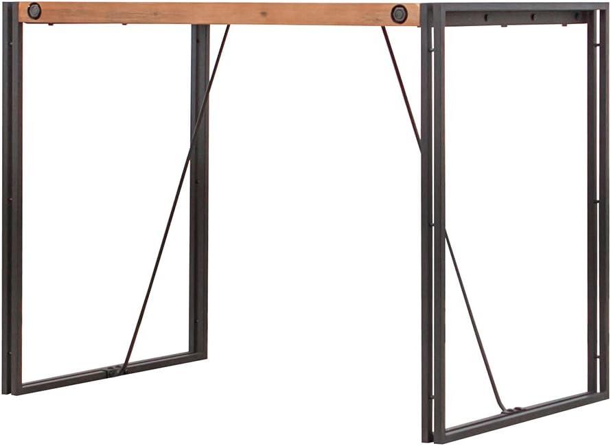 Meubletmoi Colección Workshop Mesa alta de bar de 93cm de altura y estilo industrial, de madera de acacia maciza y metal