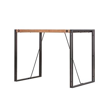 meubletmoi table haute de bar h 93cm style industriel en bois dacacia massif et - Table Bar Industriel