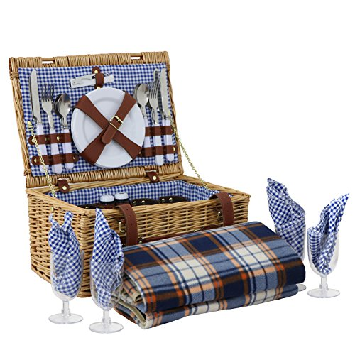 Deluxe Picnic Blanket - BBBuy Deluxe Traditional Wicker Picnic Basket Hamper with Cutlery, Plates, Glasses, Tableware & Fleece Blanket (for 4 Person)