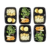 Mercimall 32oz Meal Prep Containers 10 Pack 2 Compartment Reusable Lunch Boxes Leak Resistant Food Storage Microwave & Dishwasher & Freezer Safe Bento Box