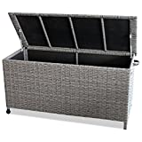 Garden Storage Box for cushions and garden tools grey 52,8x22x25' with wheels poly rattan garden furniture accessory