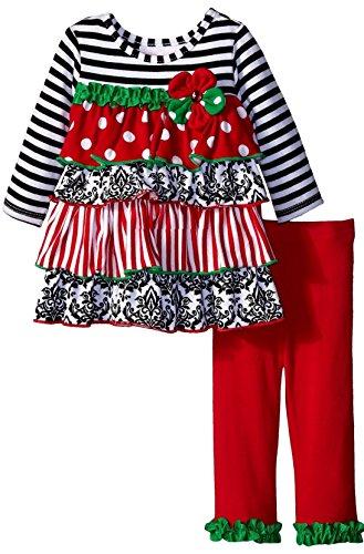 Bonnie Baby Baby Girls' Dot and Stripe Tiered Ruffle Legging Set, black/white, -