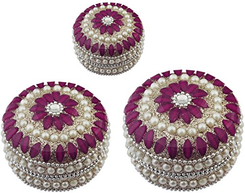 Handmade Gifts Set of 3 Indian Jewelry Box Round Metal and Beaded Decorative Box for Jewelry 3 Inch (Pink)