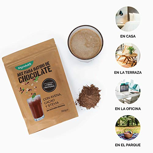 Mix para Batido de Chocolate con Avena, Cacao y Stevia, pack de 2x350gr de Manduka. Alto Contenido en Fibra, Proteínas, Hierro y Magnesio - Complemento ...