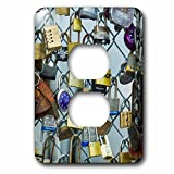 3dRose Danita Delimont - Maine - Maine, Portland, Portland waterfront, love locks on fence - Light Switch Covers - 2 plug outlet cover (lsp_251090_6)