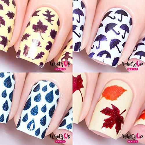 Fall Autumn Nail Vinyl Stencils 4pcs (Umbrellas, Fall, Rain, Leaves) for Nail Art Design (Outline Leaf Fall)