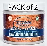 16 Oz Ounce Jar 100% Organic Extra Virgin Raw Coconut Oil (Pack of 2)