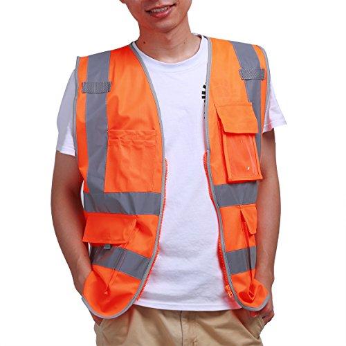 iEFiEL Unisex High Visibility Reflective Stripes Safety Vest Jacket with Zip Pocket Orange (Construction Worker Jacket)