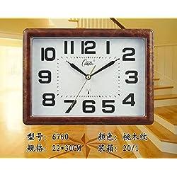 Y-Hui Quartz Clock Wall Clock Mute Alarm Calendar Calendar Temperature Bedroom Alarm Clock Night Light Bedside 6760, Cherry Wood-Grain Night Light (No Alarm)